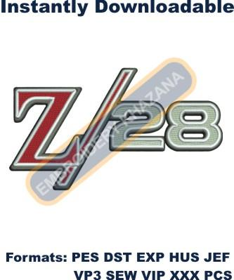 Chevrolet Camaro Z28 logo embroidery design